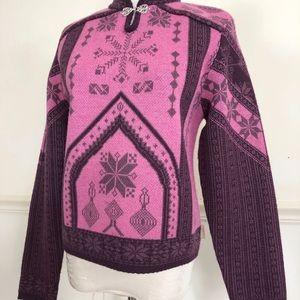 VTG Obermeyer Wool Ski Sweater Small pink purple